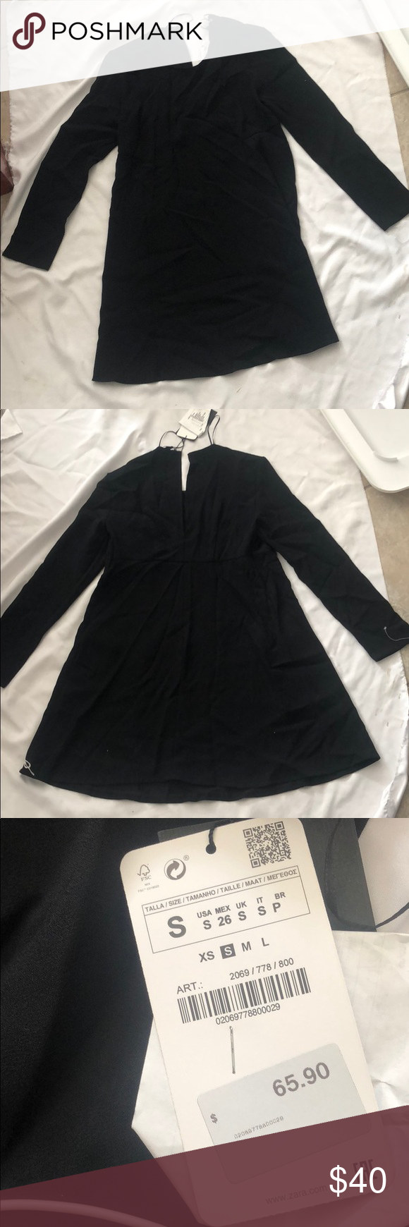 Black long sleeve short flowy dress zara nwt my posh closet