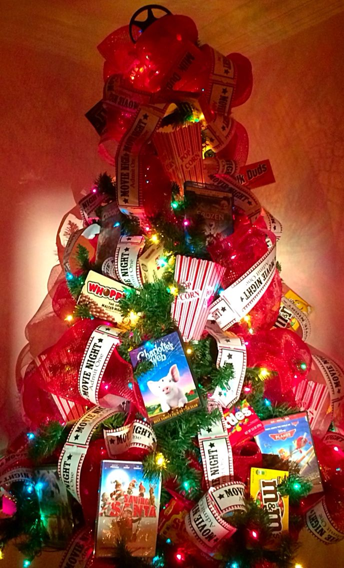 Movie themed Christmas tree for Hannah's room lite with