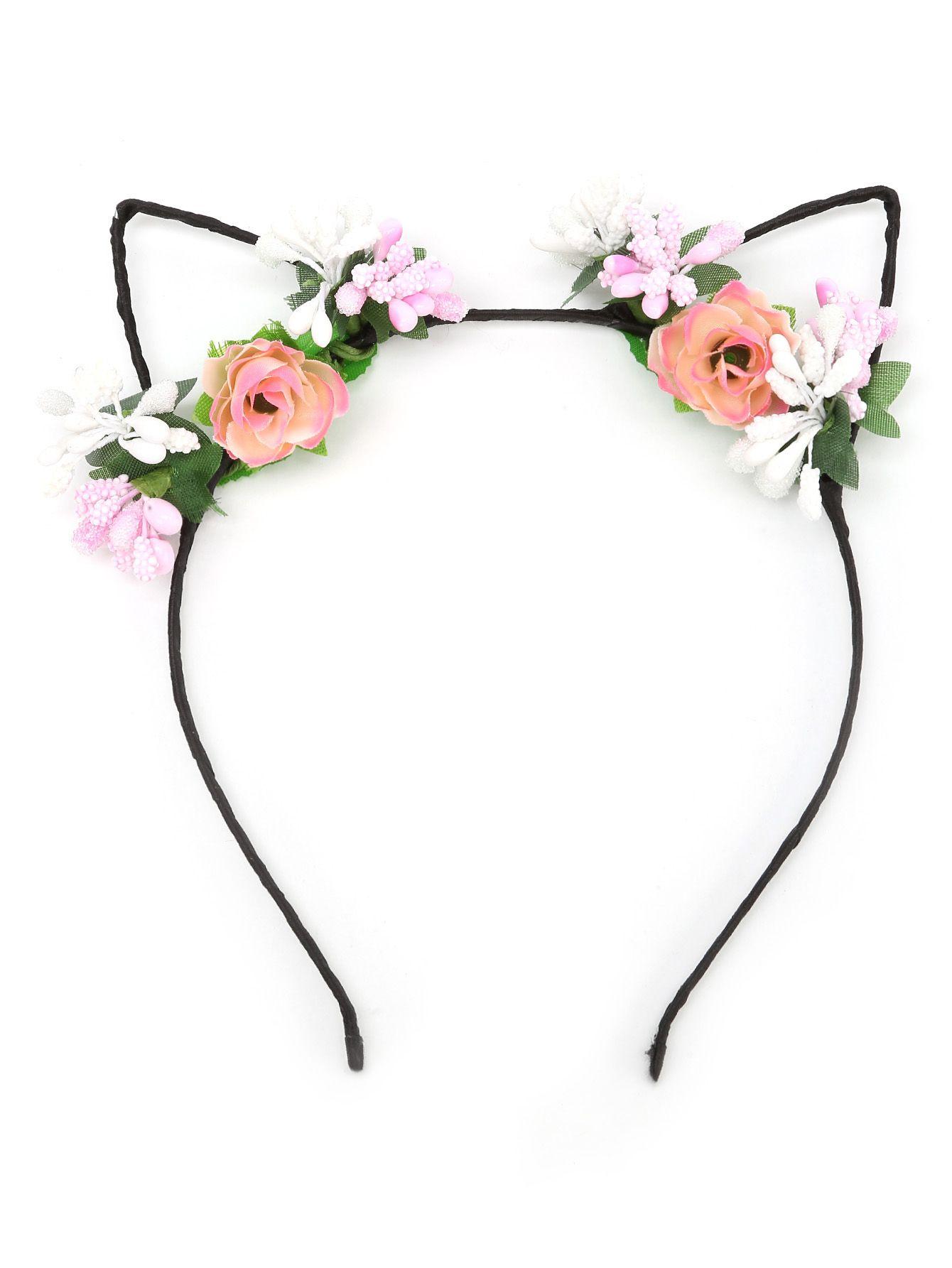 Diadema con oreja de gato con adornos de flor -Spanish SheIn(Sheinside).  Shop Flower Embellished Cat Ear Headband online. 2daa4afd4bd