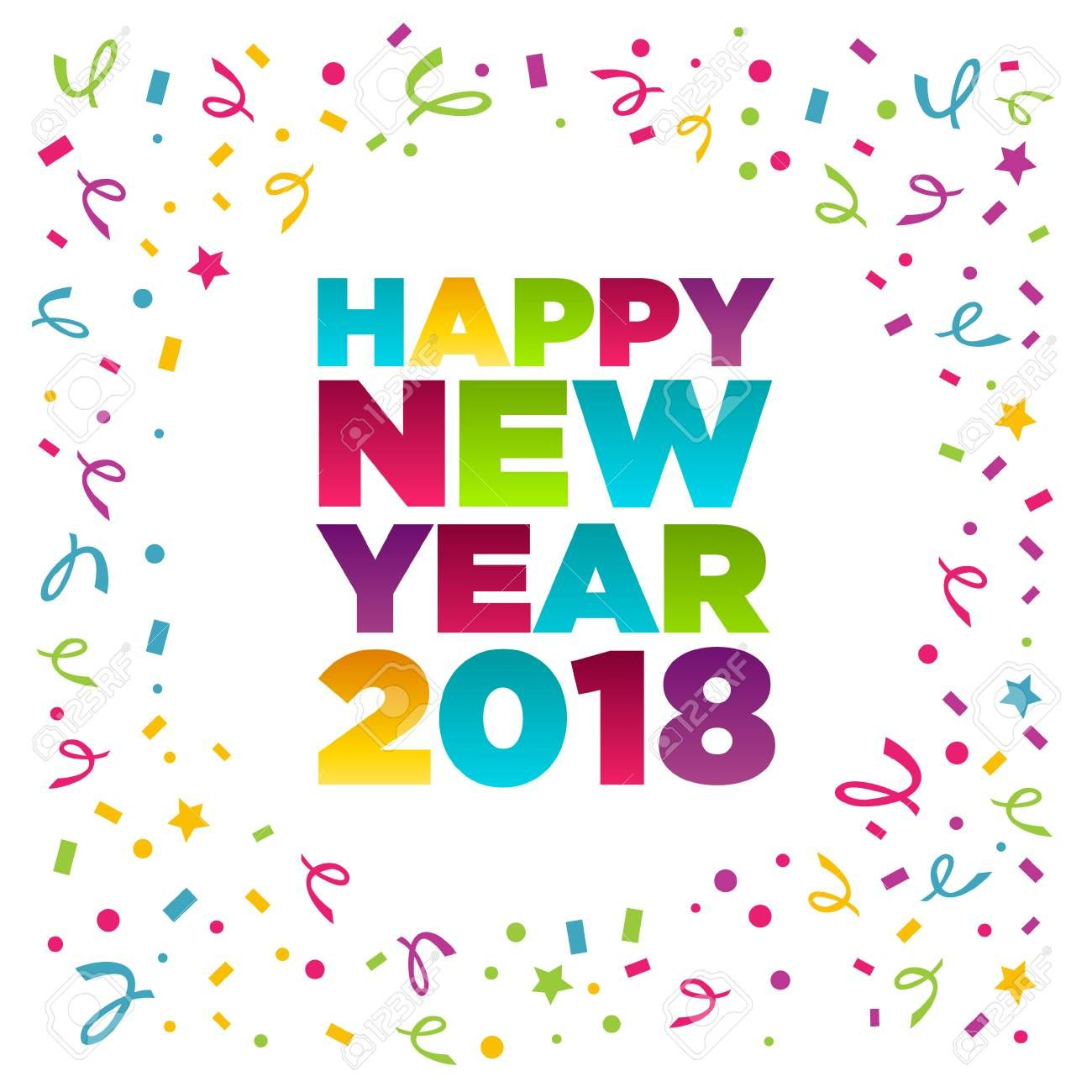Happy new year 2018 greeting card, vector illustration