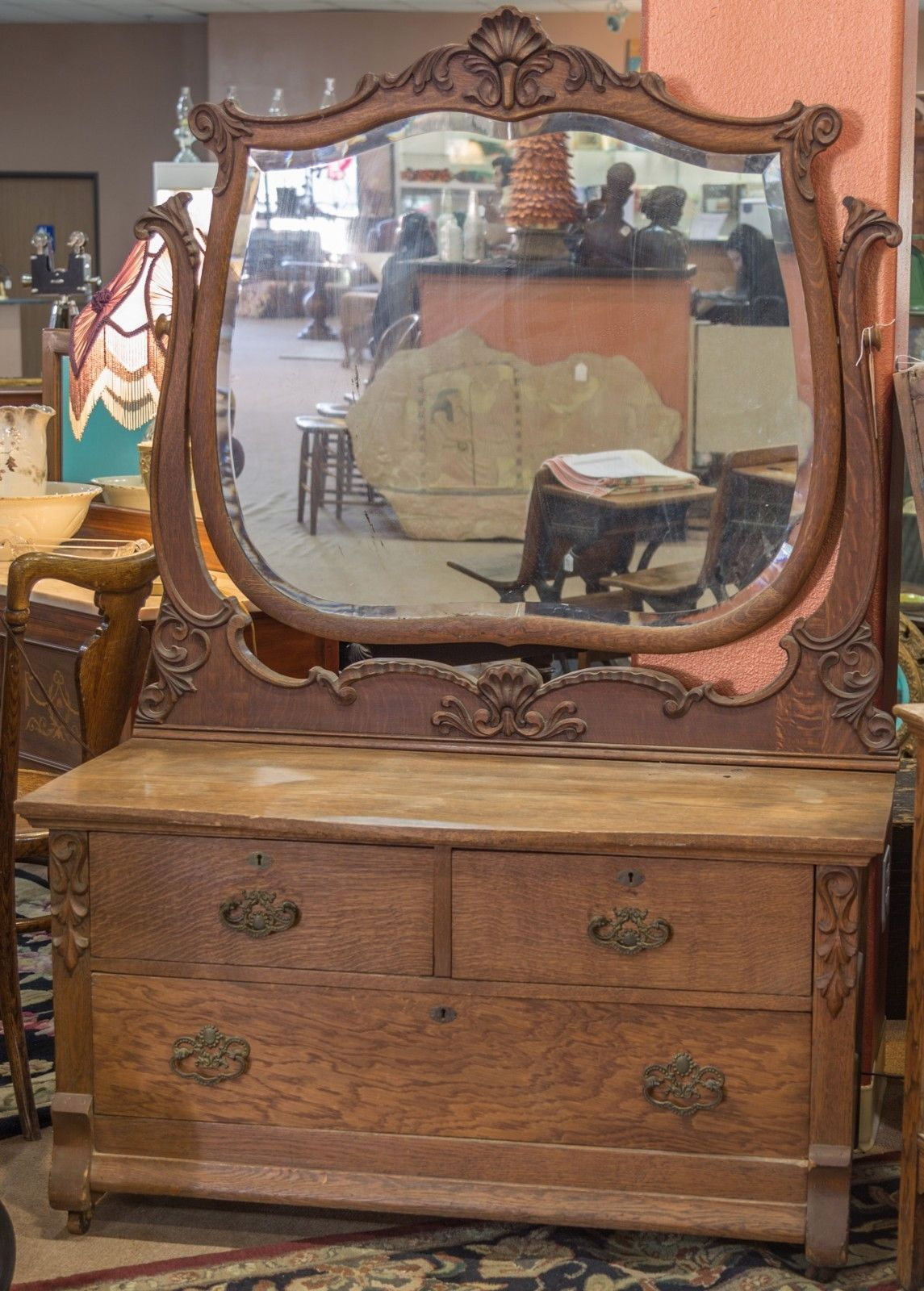 Antique Tiger Oak Dresser With Beveled Mirror