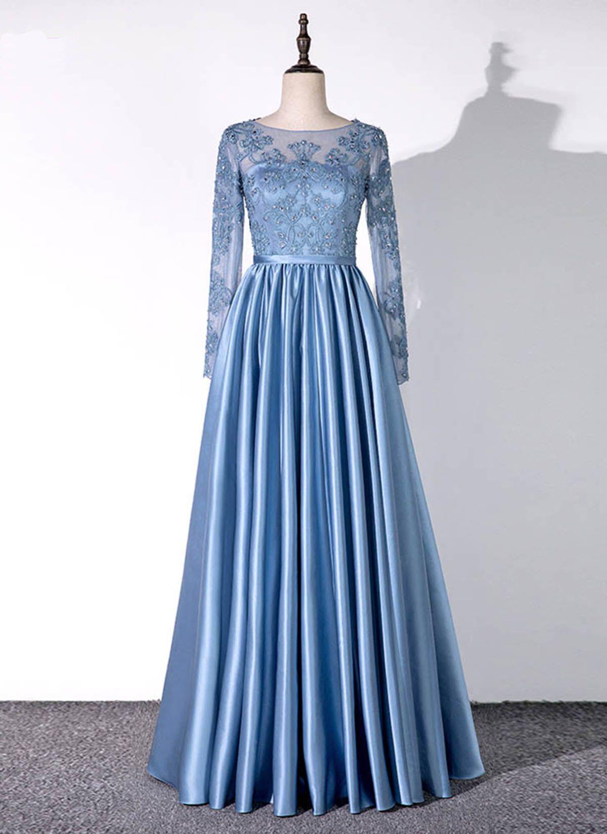 Blue satin long sleeve aline handmade plus size prom