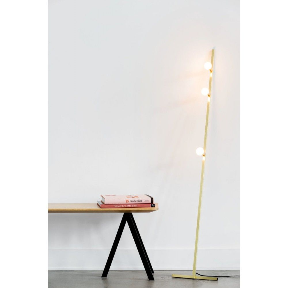 Dot Line Floor Pendant Lamp In Natural Brass With A Black Nylon Wire By Lambert Et Fils