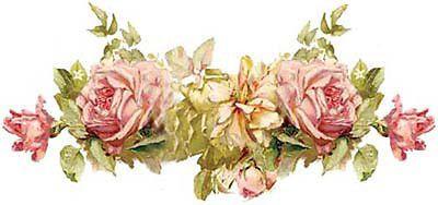 Klein rosa y amarillo Rose Shabby Calcomanías tobogán esquinas & Guirnaldas