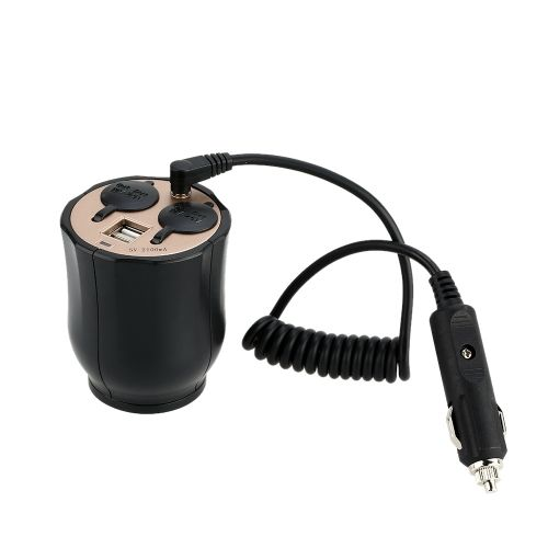 WUPP Dual Car Cigarette Lighter Socket Dual USB Port Cup Shape Charger Power Adapter