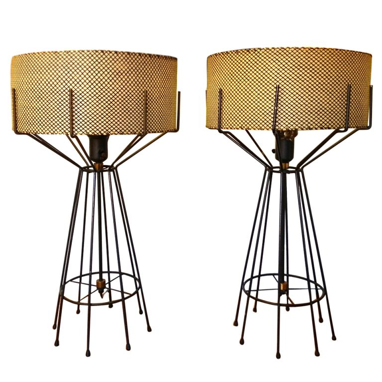 Pair Of Iron Table Lamps By Arthur Umanoff