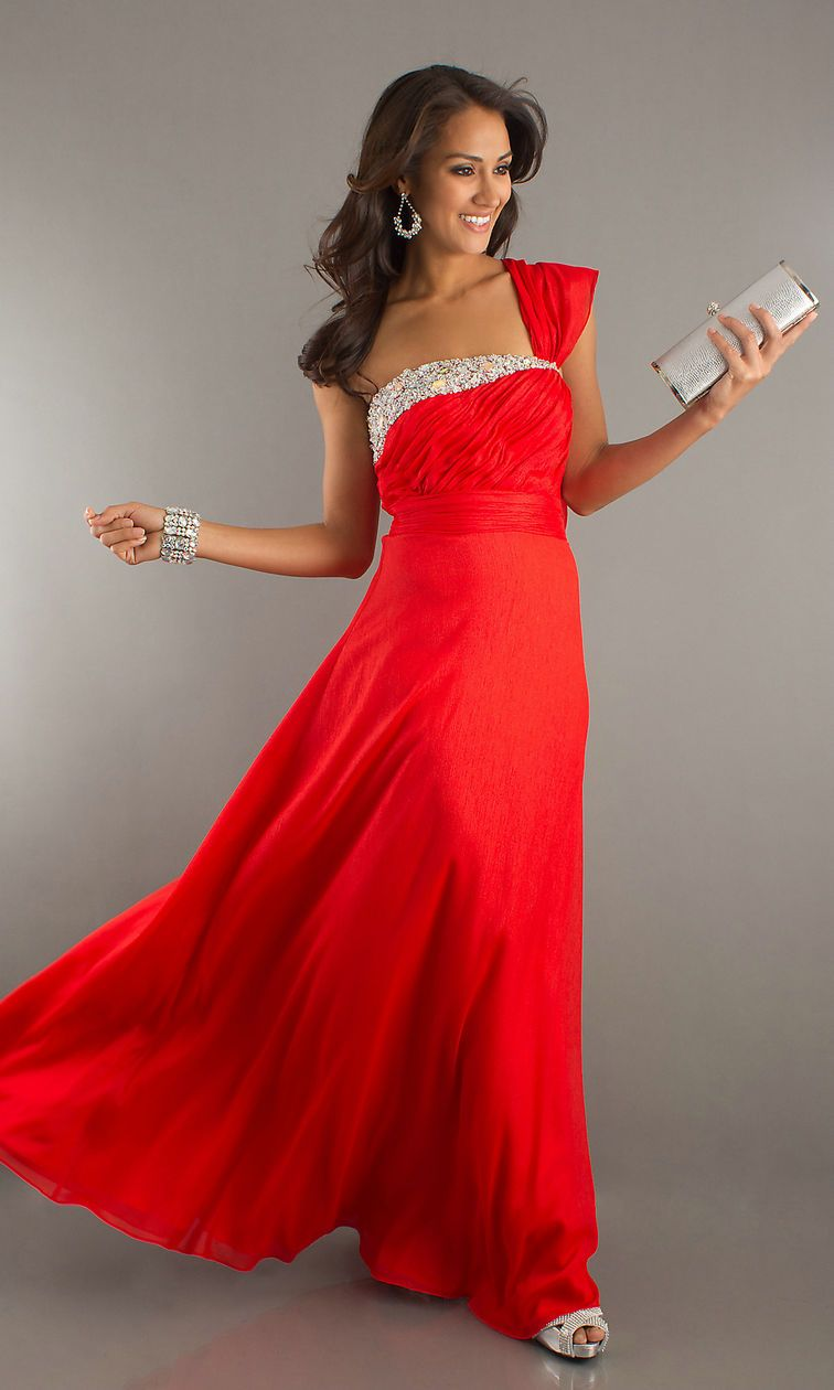 Red evening dresses one shoulder sequin detail long ruched red