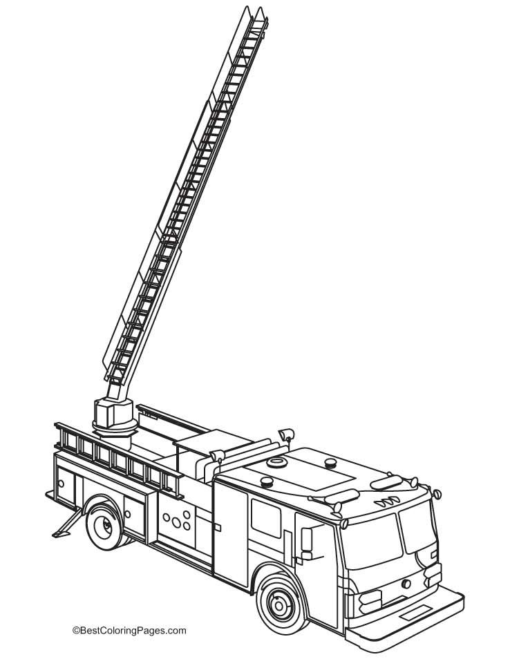 Red Fire Engine Coloring Pages