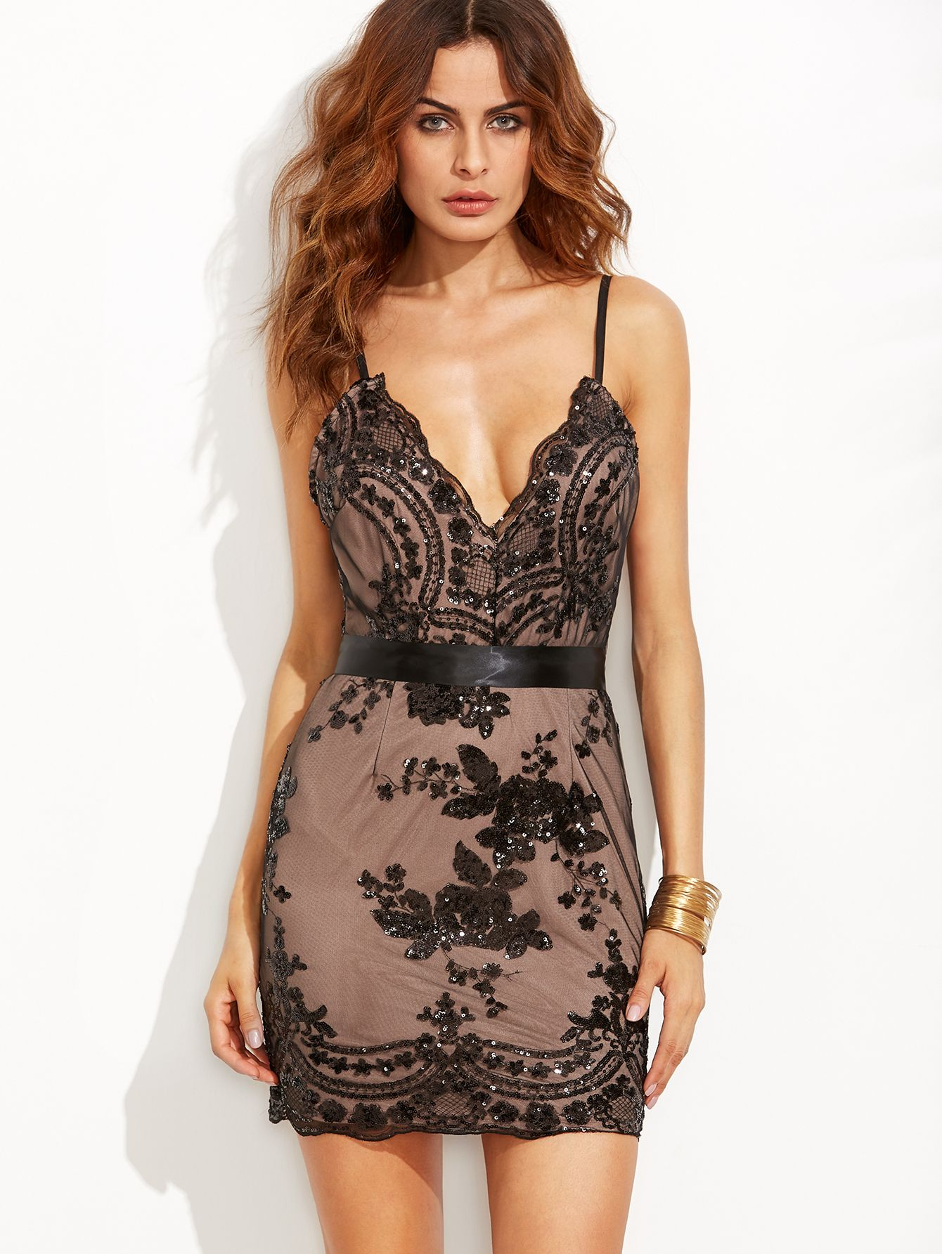 1223f79a Shop Black Spaghetti Strap Open Back Sequins Bodycon Dress online. SheIn  offers…