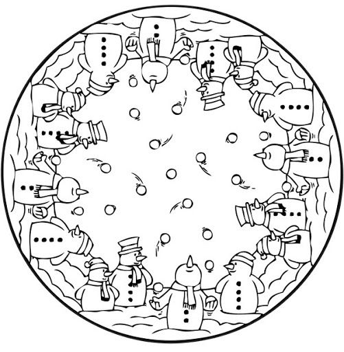 Mandala Winter Kardan Adam Kardanadam Ve Boyama Sayfalari