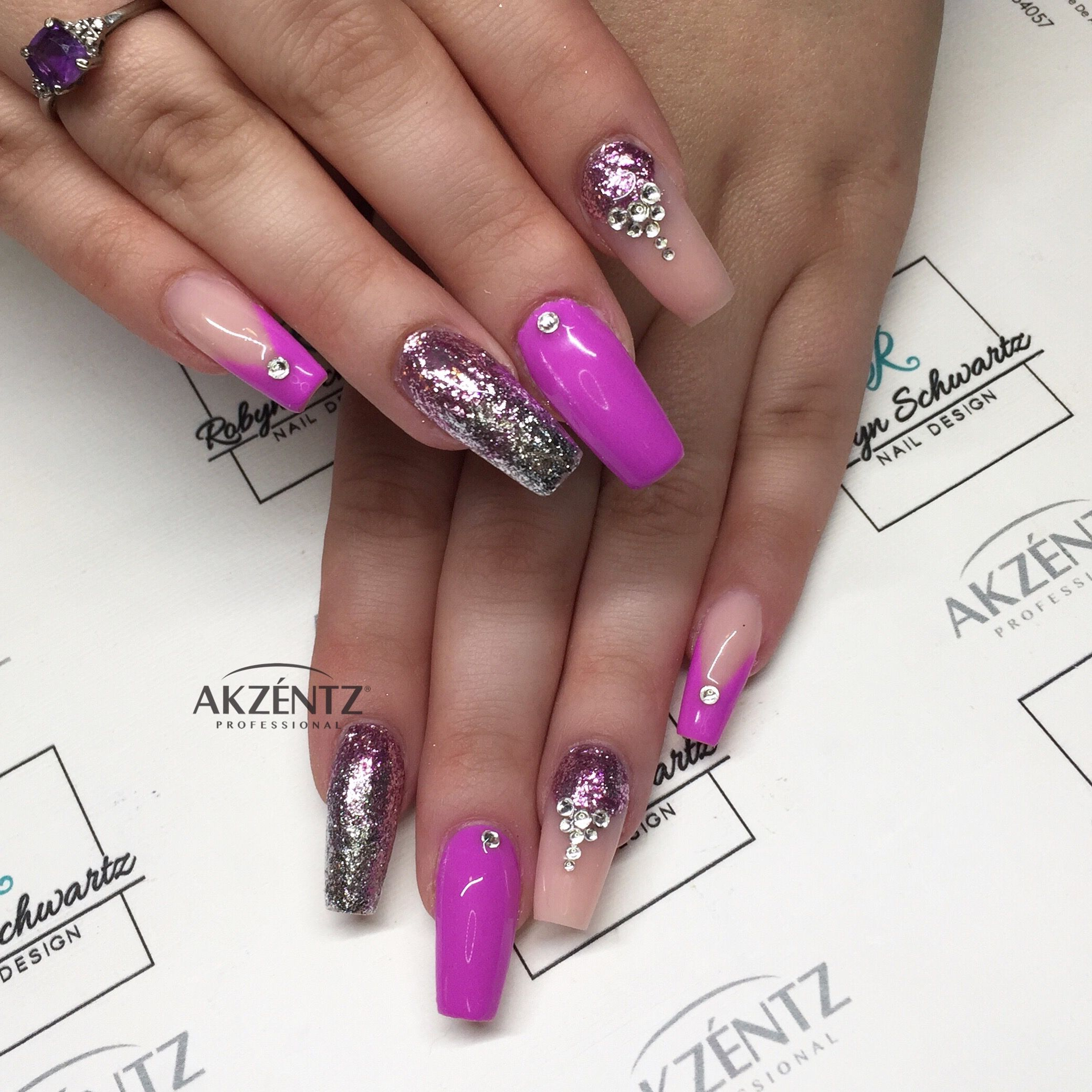 Options purple Lotus and glitter gels, coffin nails | Blingy Nails ...