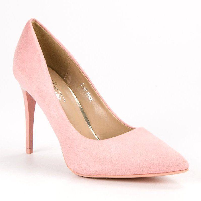 Zamszowe Szpilki Rozowe Heels Shoes Pumps