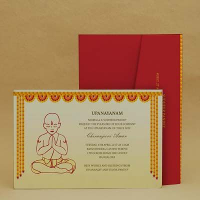Marigold Finery Red Thread Ceremony Invitation Cards E