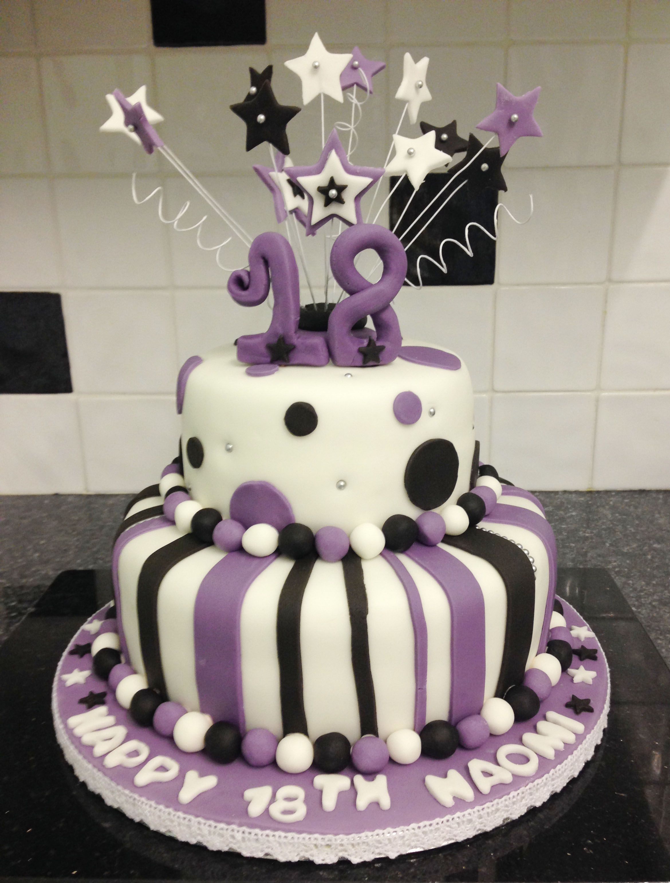 Two Tier Round 18th Birthday Cake White Purple And Black Stars