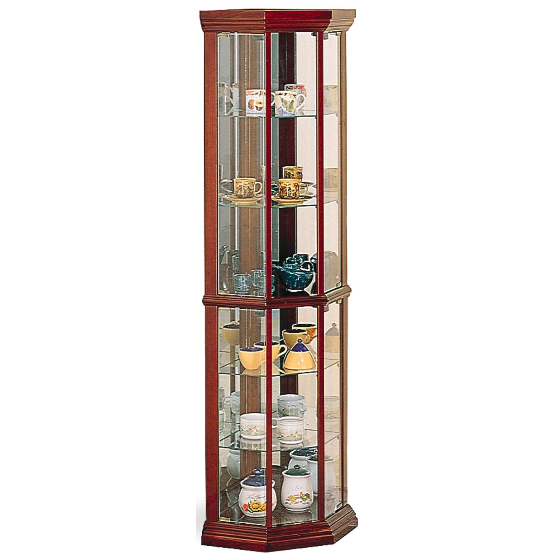 Coaster 3393 Solid Wood Cherry Glass Corner Curio Cabinet with 6