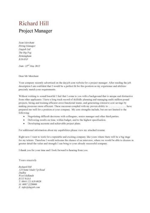 Project Manager Cover Letter Example Sample Professional Documents