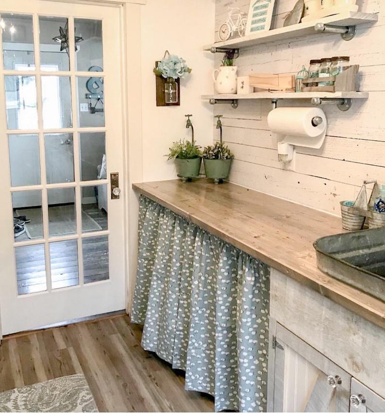 1 Pair of Cotton Stem Curtains, Kitchen Decor, Bedroom Decor, Vintage, Window Treatments, Bohemian Decor, Farmhouse Style Mutfak