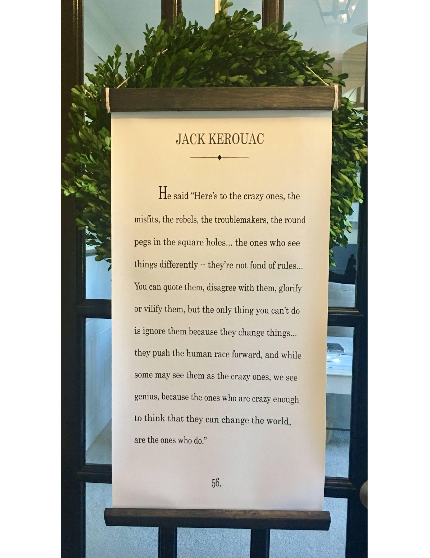 The Crazy Ones Art Print, Jack Kerouac Inspired Quote