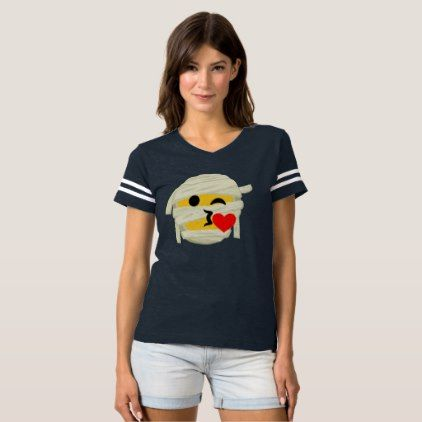 Funny Mummy Kiss Heart Smiley Emoji Halloween T-shirt - Halloween happyhalloween festival party holiday