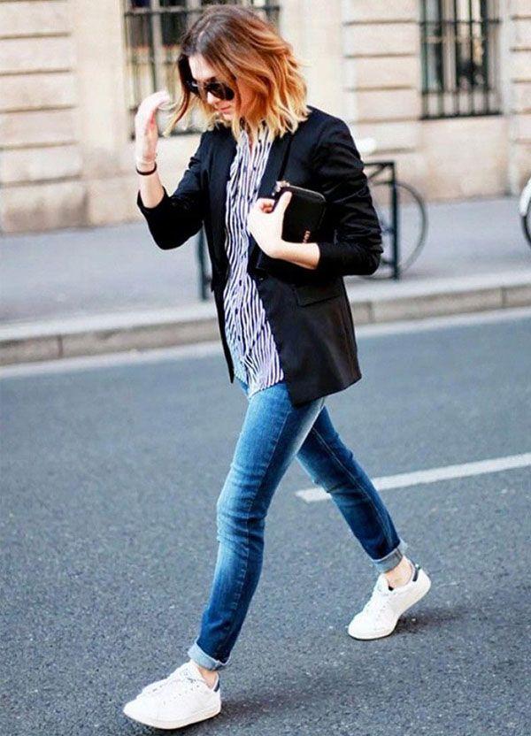 aussehen street style tenis adidas branco calca jeans |