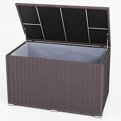 xxl kissenbox wasserdicht polyrattan 950l anthrazit auflagenbox gartenbox gartentruhe. Black Bedroom Furniture Sets. Home Design Ideas