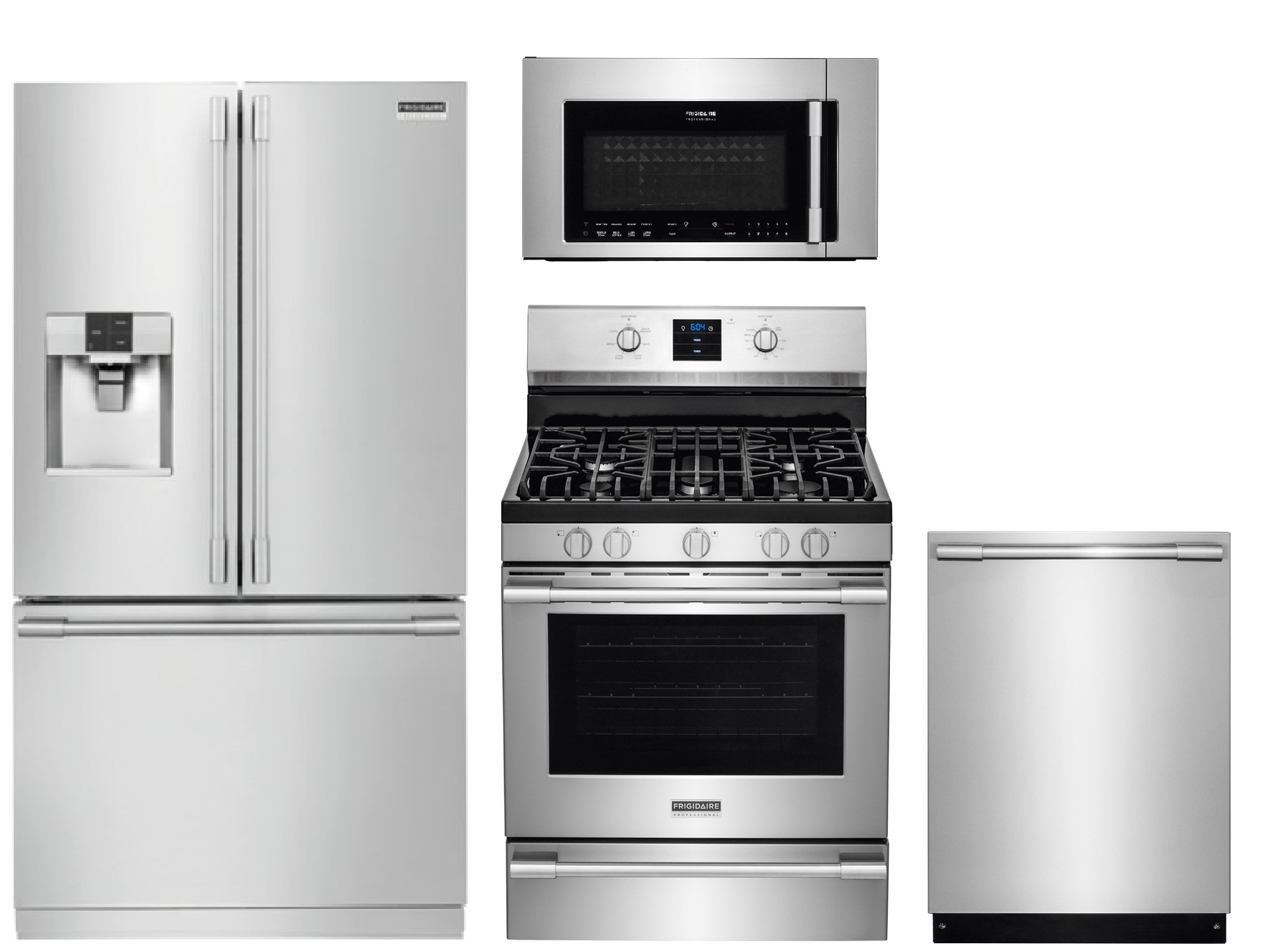 Frigidaire Professional Fpbs2777rf 27 8 Cu Ft Refrigerator Fpbm3077rf 30 In Over The Range Microwave Fpgf3077qf 5 6 Cu Ft Self Cleaning Convection Gas Ra Kitchen Appliance Packages Frigidaire Professional Kitchen Appliances