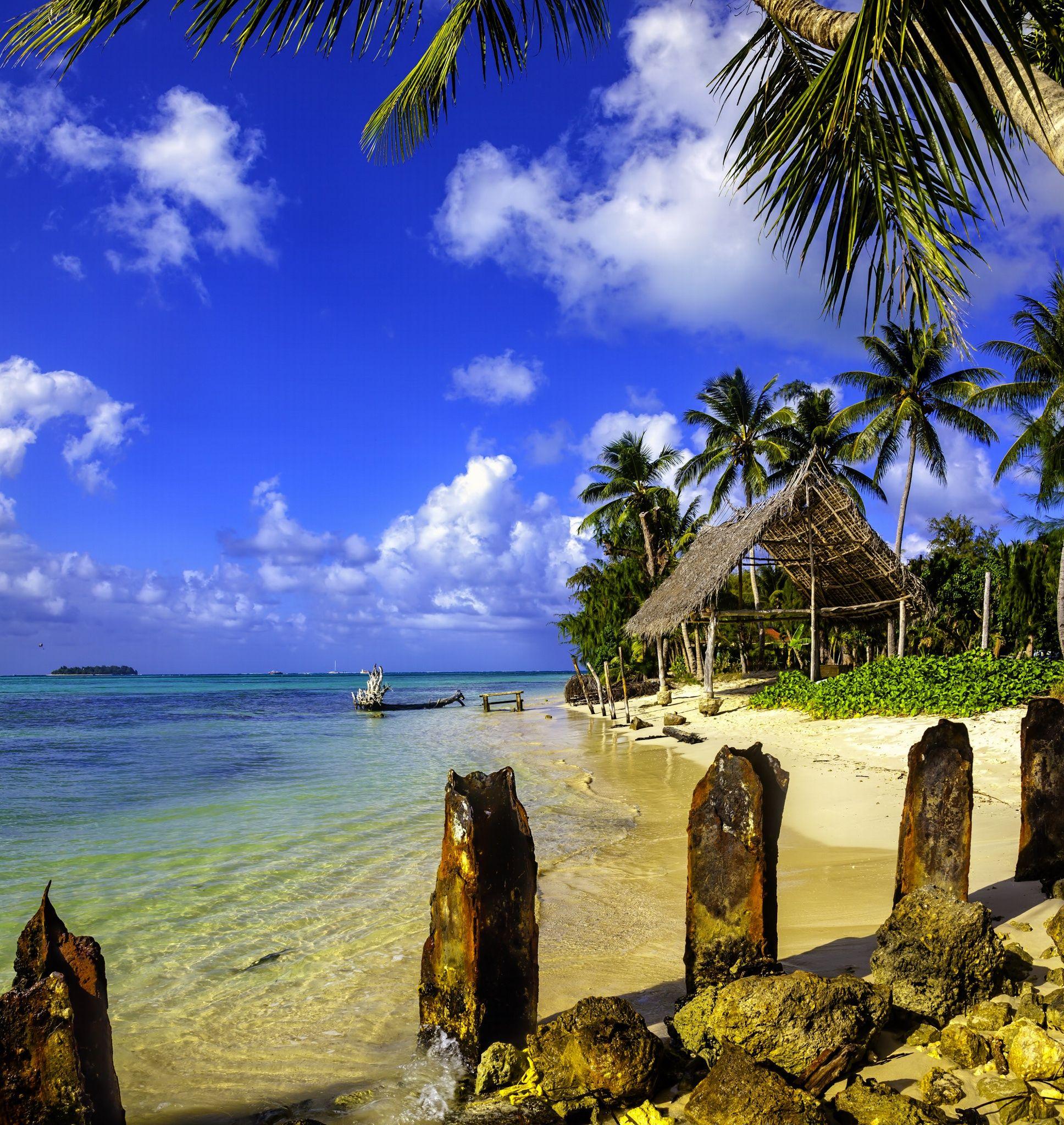 South Pacific Beaches: Grass Hut On Micro Beach, Saipan, Commonwealth Of The
