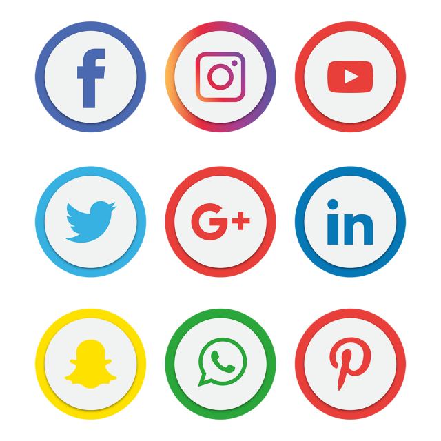 social, media, icon, set, logo, network, share, business