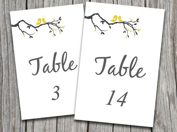 Love birds heart tree branch wedding table numbers microsoft word template gray yellow for Wedding table numbers template