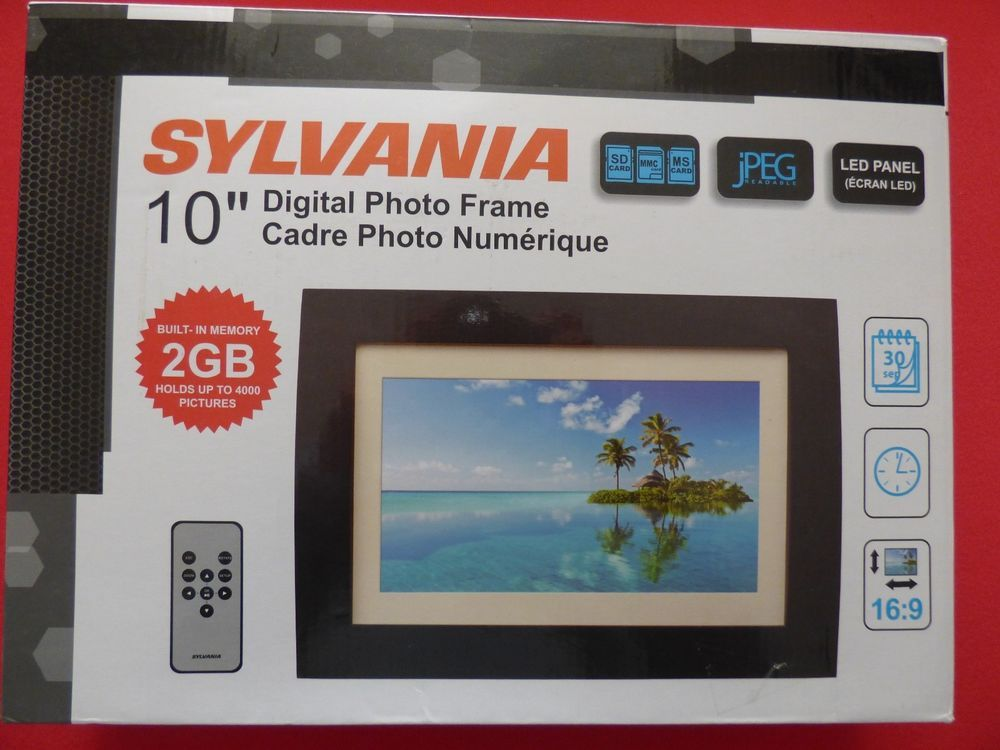 sylvania 2gb 10 digital photo frame led sdpf1089 wood frame with remote new