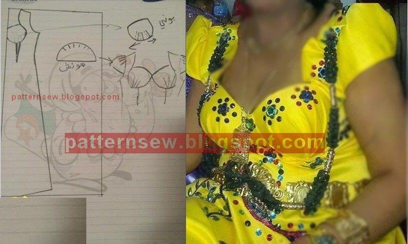 Pattern Sewing باترون مفصل لقندورة عنابية صفراء Couture Fashion Festival Bra