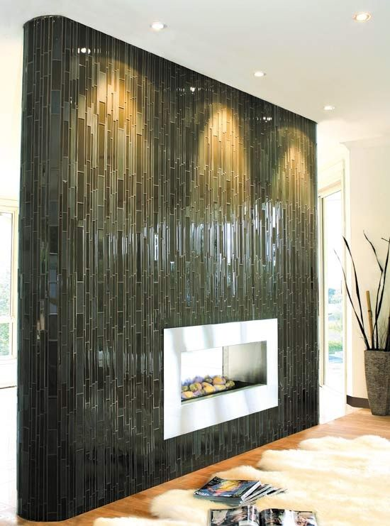 Glass Tile for Fireplace Pental glass tile vertical fireplace
