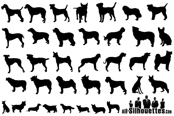 Vector Dogs Silhouettes Free Pack Silhouette Free Dog Silhouette Dog Outline