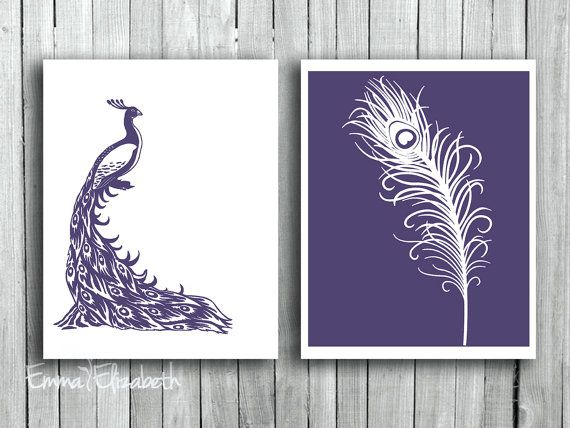 Purple Wall Decor peacock wall hanging feather art print deep purple mothers day