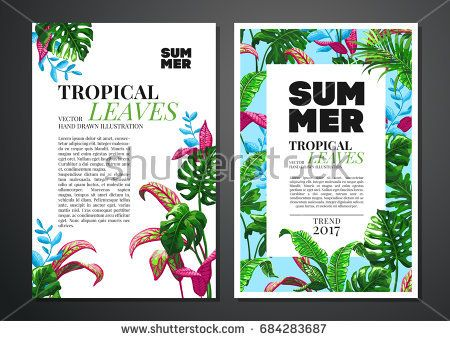 Tropical palm leaves background invitation or card design with tropical palm leaves background invitation or card design with jungle leaves vector illustration in trendy style stopboris Choice Image