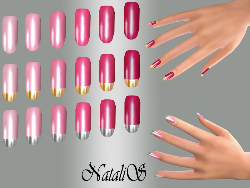 Long glossy nails. So pink stunning collection. 6 shades of pink. Three variants of nail design - solid color and silver, gold metallic tips.  Found in TSR Category 'Sims 4 Female Rings'