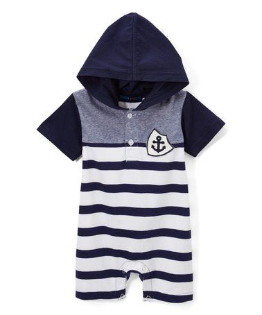 ed64b3c4c36 Love this White   Navy Captain Stripe Hooded Romper - Infant   Toddler on   zulily!  zulilyfinds