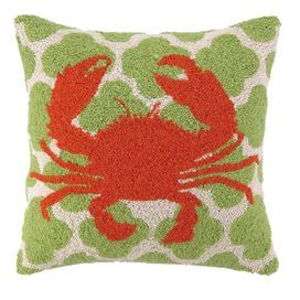Wool throw pillow with a crab motif against a quatrefoil background.  Product: PillowConstruction Material: 100% WoolColor: Green and redFeatures:  Hand-hookedInsert included Dimensions: 18 x 18Cleaning and Care: Spot clean