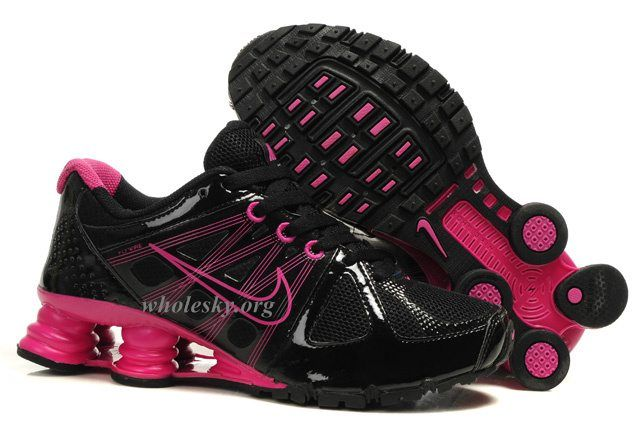lowest price a6576 6f33d nike shocks pink   Nike Shox Agent Black Hot Pink Running Shoes-Womens