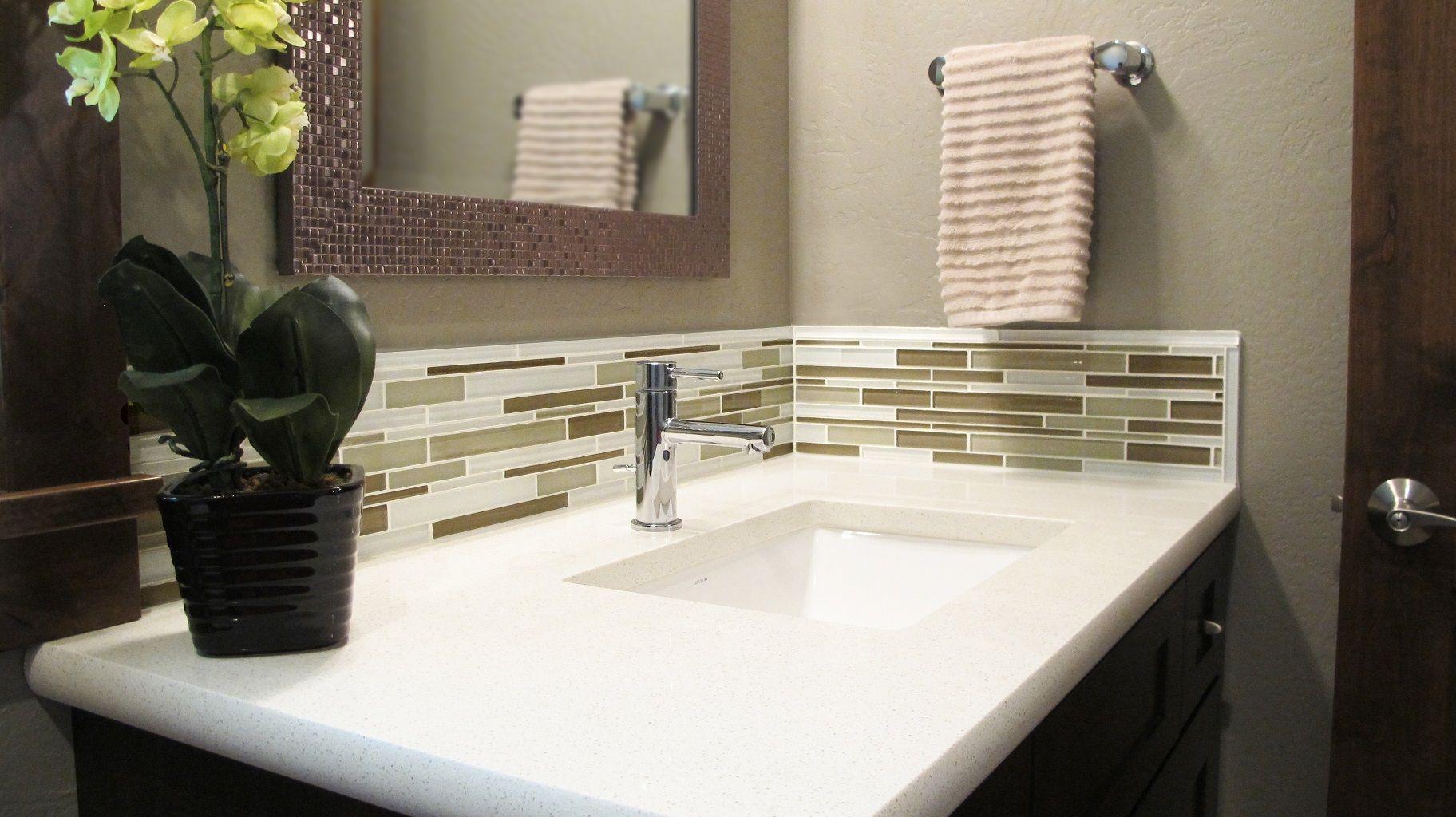 Tile Backsplash Behind Bathroom Sink Vanity Backsplash Modern