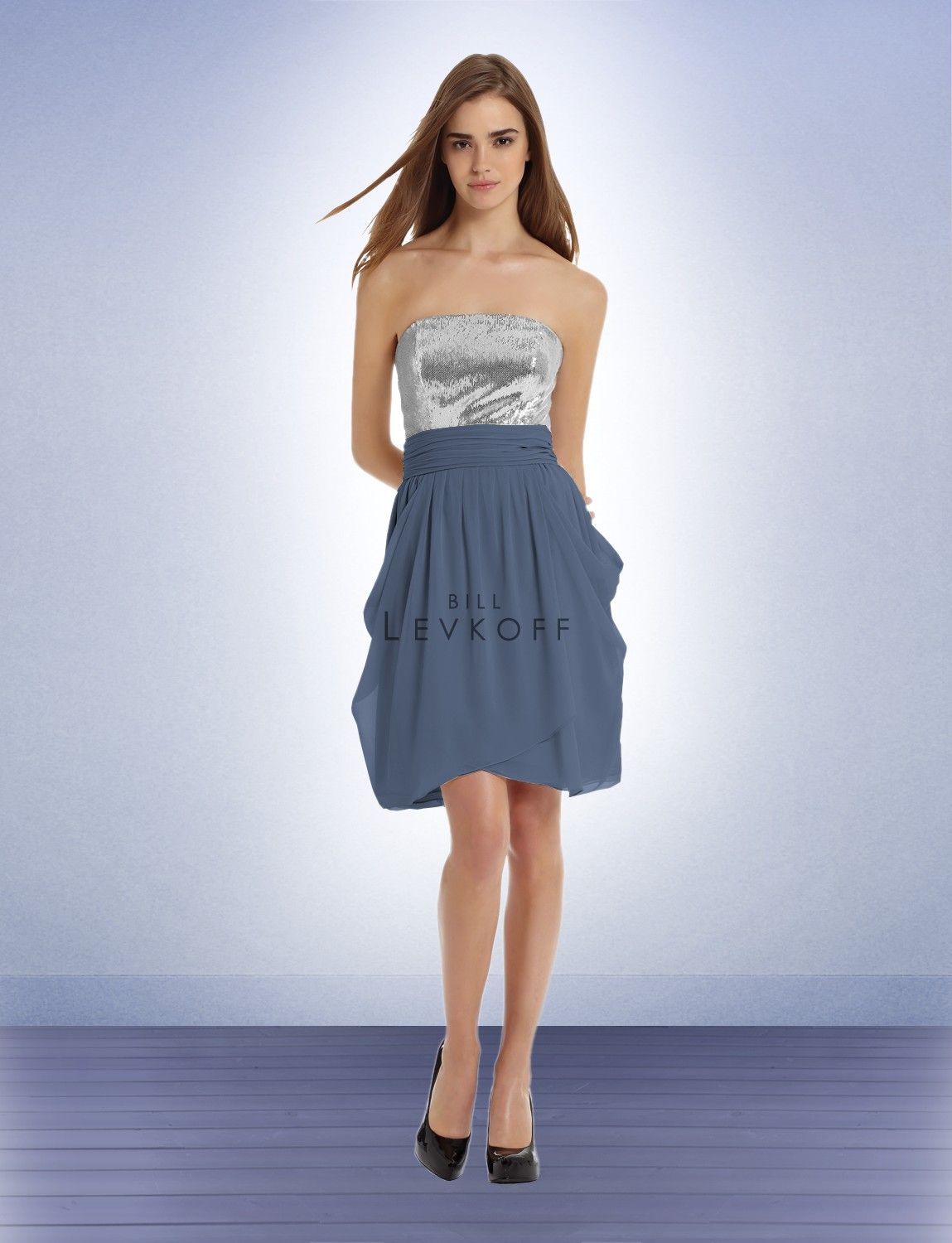 Bill levkoff bridesmaid dress style this but with a plain