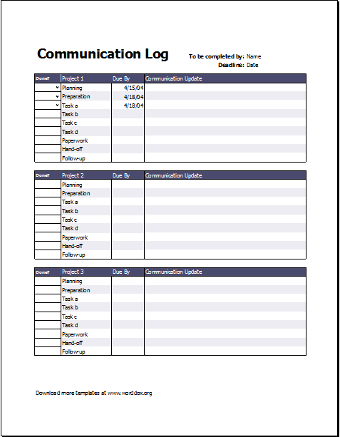 Project Communication Log Download At HttpWorddoxOrgProject