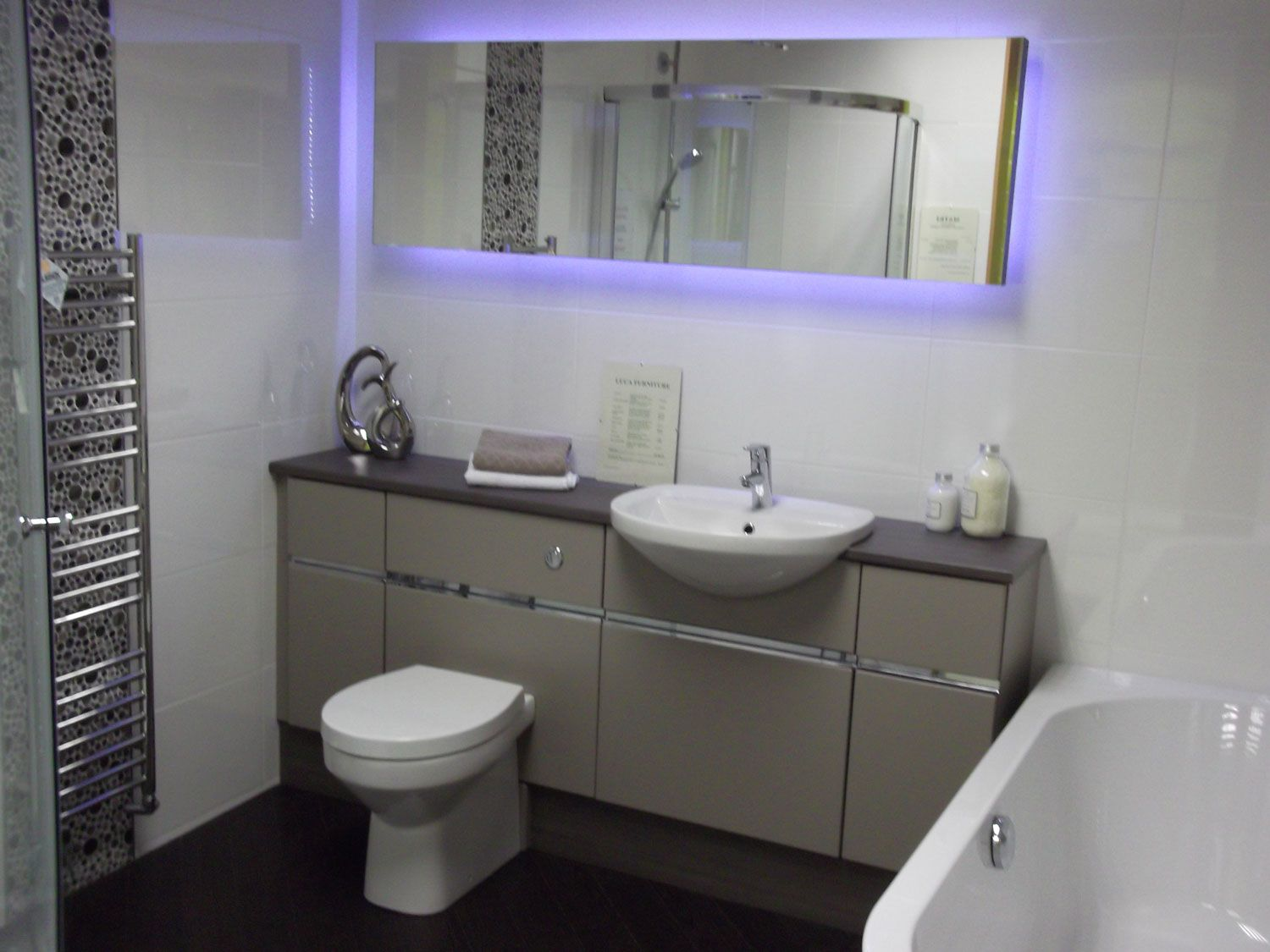 shades bathroom furniture uk%0A White Futuristic Fitted Bathroom Furniture With Wall Mounted