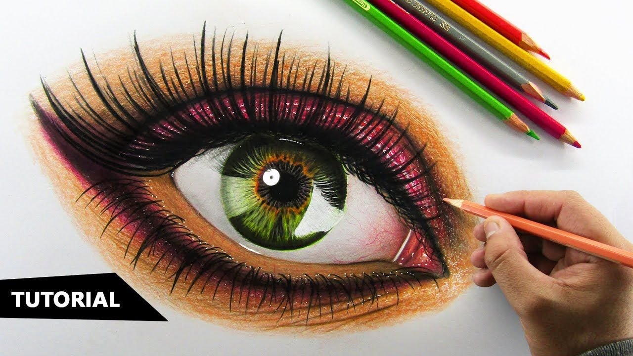 How To Draw Hyper Realistic Eye Using Colored Pencils Step By