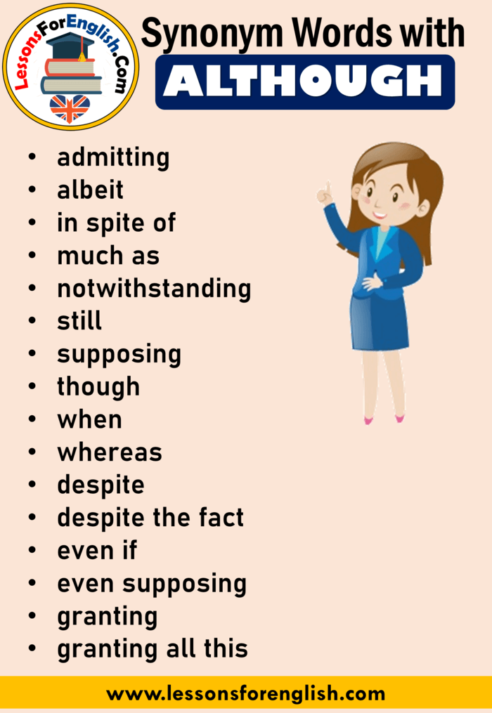 English Vocabulary Synonym Words With Although Admitting Albeit In Spite Of Much As Notwithstanding English Writing Skills English Vocabulary English Writing