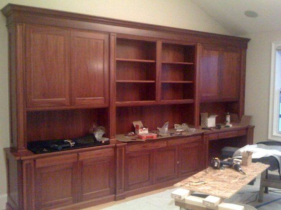Office Wall Units With A Desk Hand Made Traditional Mahogany