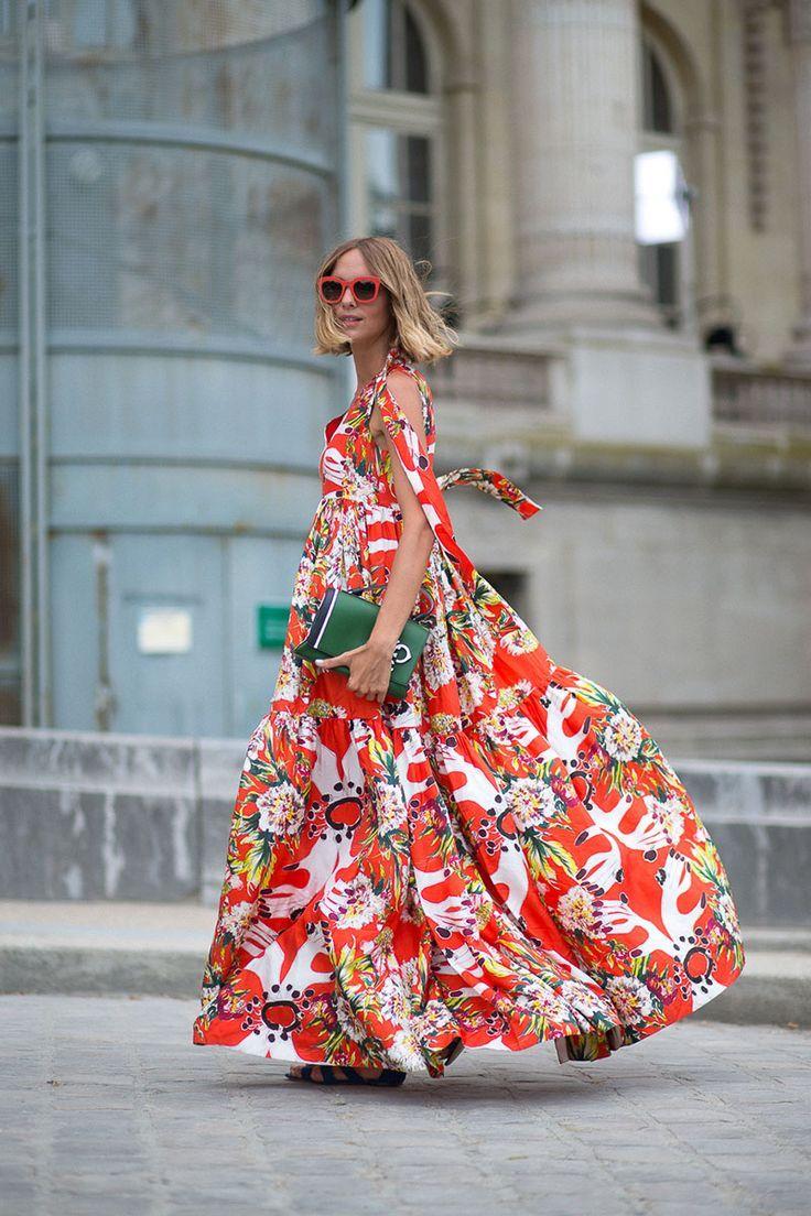 Robe A Fleur Ete Rouge Coton Maxi Longueur La Robe Longue Fashion Couture Fashion Street Style