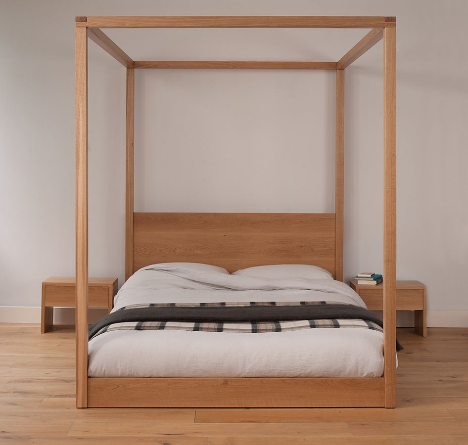 Cube Fourposter Bed In Solid Oak Made In Sheffield By Natural - Bedroom furniture shops in sheffield