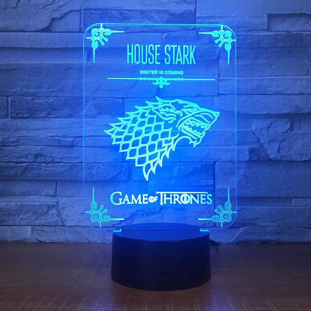 Game Of Thrones Wolf Acrylic Illusion 3d Led Lamp 7 Colors Changing Usb Touch Desk Lamp 3d Led Lamp 3d Led Night Light Illusions