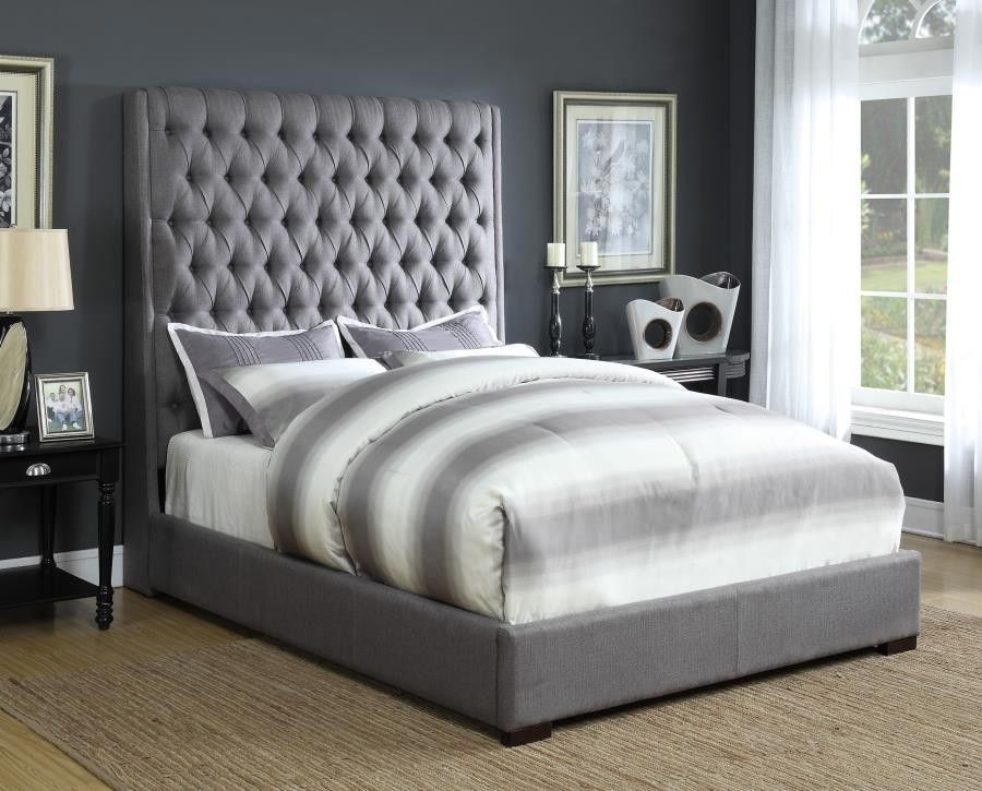 Best Camille Upholstered Bed Camille Grey Upholstered Queen 640 x 480